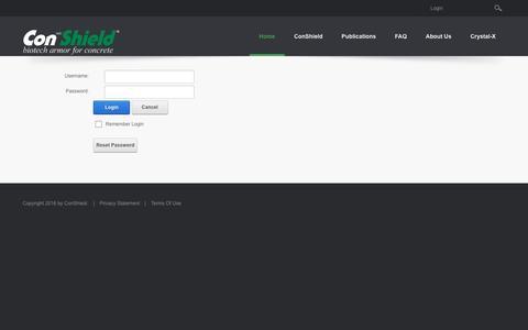 Screenshot of Login Page conshield.com - User Log In - captured Nov. 10, 2016