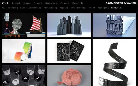 Screenshot of Products Page sagmeisterwalsh.com - Work – Sagmeister & Walsh - captured Aug. 30, 2016
