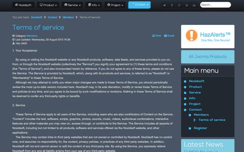 Screenshot of Terms Page noxidsoft.com - Noxidsoft | Contact us | Members | Terms of service - captured Sept. 23, 2014