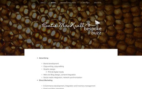 Screenshot of Menu Page bespokebuzz.com - Menu — Bespoke Buzz - captured Sept. 30, 2014
