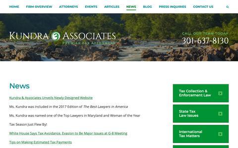 Screenshot of Press Page kundrataxlaw.com - News - Law Firm Kundra & Associates Tax Attorneys Rockville, Maryland - captured Oct. 16, 2018