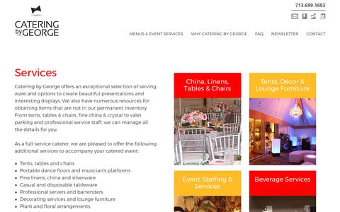 Screenshot of Services Page cateringbygeorge.com - Services | Catering By George - captured July 18, 2017
