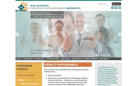Screenshot of Services Page assmq.com - Cadres et professionnels - Midi-Quarante - captured Nov. 21, 2016