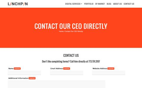 Screenshot of Contact Page linchpinseo.com - Contact Our Lead Linchpin Directly - captured Feb. 4, 2017