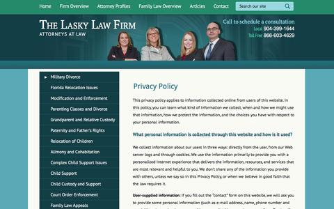 Screenshot of Privacy Page laskylawfirm.com - Privacy Policy | The Lasky Law Firm | Jacksonville, Florida - captured Feb. 16, 2016