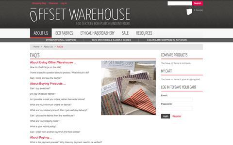 Screenshot of FAQ Page offsetwarehouse.com - Offset Warehouse -  FAQ's - About Us - captured Nov. 2, 2017