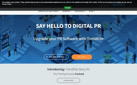 Screenshot of Home Page trendkite.com - TrendKite: Digital PR Software - captured Aug. 19, 2018