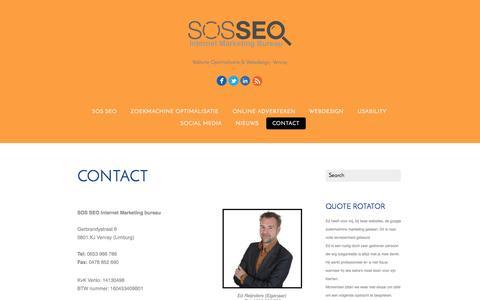 Screenshot of Contact Page sosseo.nl - Contact - SOS SEO Limburg, Venray | Webdesign, Website Optimalisatie & AdWords - captured Oct. 3, 2014