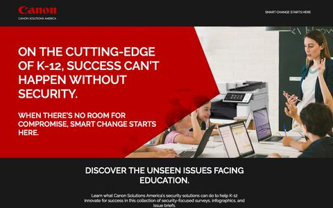 Screenshot of Landing Page canon.com - Canon Solutions America   Smart Change Starts Here - captured April 9, 2018