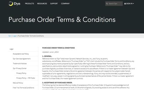 Screenshot of Terms Page dyn.com - Purchase Order Terms & Conditions - captured Feb. 10, 2017