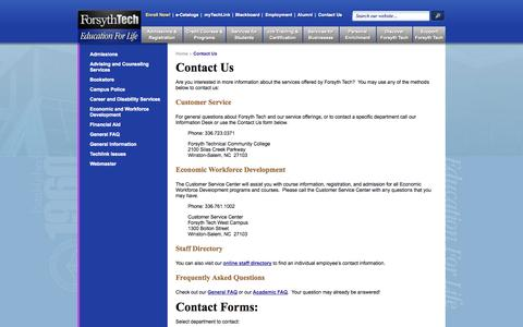 Screenshot of Contact Page forsythtech.edu - Contact Us | Forsyth Tech - captured Sept. 16, 2014