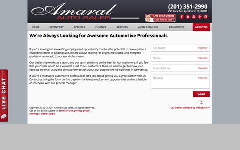 Screenshot of Jobs Page amaralautosales.com - Automotive Job Openings | Dealership Careers in New Jersey - captured Oct. 4, 2014