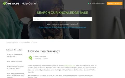 Screenshot of Support Page yesware.com - How do I test tracking? – Yesware Help Center - captured July 12, 2019