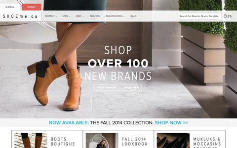 Screenshot of Home Page shoeme.ca - Shoes Online Canada - Buy designer women's & men's shoes       | SHOEme.ca - captured Sept. 25, 2014