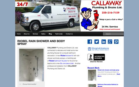 Screenshot of Blog callawayplumbinganddrains.ca - Blog | Callaway Plumbing and Drains Ltd. | Drain Cleaning and Plumbing Repairs Victoria BC - captured Oct. 1, 2014
