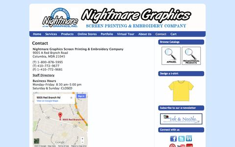 Screenshot of Contact Page nightmaregraphics.com - Nightmare Graphics Screen Printing & Embroidery Company   Contact - captured Oct. 26, 2014