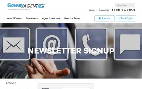 Screenshot of Signup Page goway.com - Newsletter Sign up - Goway Agent - captured April 14, 2016
