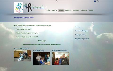 Screenshot of Services Page allrfriends.com - Services - captured Sept. 30, 2014