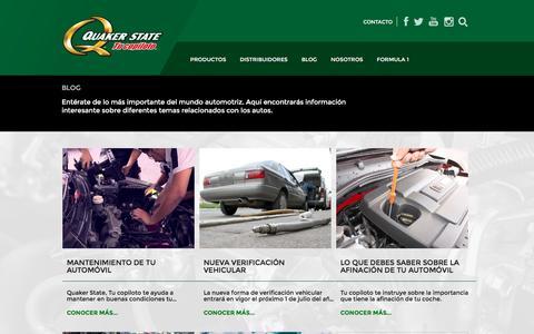 Screenshot of Blog quakerstate.com.mx - Blog » Página 1 - Quaker State - captured July 13, 2016
