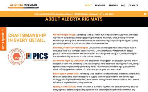 Screenshot of About Page albertarigmats.com - About Alberta Rig Mats - captured Nov. 6, 2018