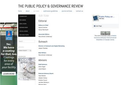 Screenshot of Team Page ppgreview.ca - Our Team   The Public Policy & Governance Review - captured Sept. 30, 2018