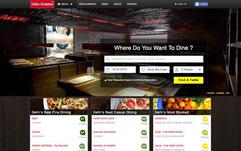 Screenshot of Home Page tablegrabber.com - Free Restaurant Reservations & Best Deals in Delhi   TableGrabber - captured Feb. 18, 2016