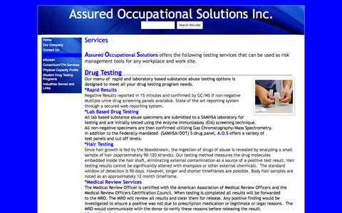 Screenshot of Services Page assuredoccu.com - Services - Assured Occupational Solutions Inc. - captured Oct. 4, 2014