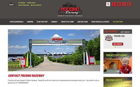 Screenshot of Contact Page poconoraceway.com - Contact Pocono Raceway, Long Pond,  Pennsylvania - captured Sept. 25, 2014