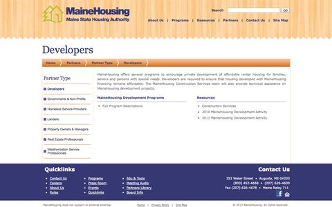 Screenshot of Developers Page mainehousing.org - Developers - captured Sept. 30, 2014