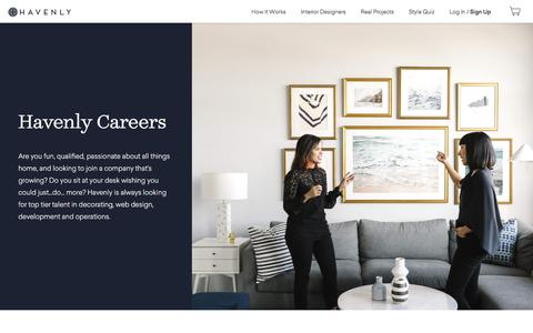 Screenshot of Jobs Page havenly.com - Online Interior Design And Home Inspiration | Havenly - captured April 7, 2018