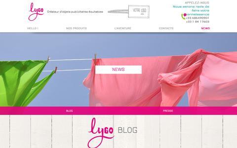 Screenshot of Press Page lygo.fr - BLOG OBJET PUBLICITAIRE EQUITABLE - captured Sept. 24, 2016