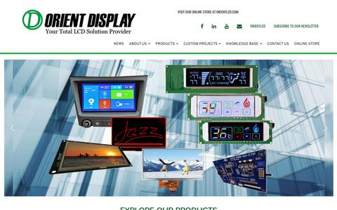 Screenshot of Home Page orientdisplay.com - Orient Display | Custom LCD | Touch Screen | TFT Manufacturer - captured Oct. 18, 2018