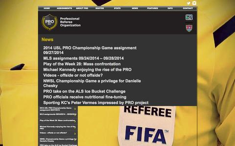 Screenshot of Press Page proreferees.com - News | PRO - Professional Referee Organization - captured Sept. 26, 2014
