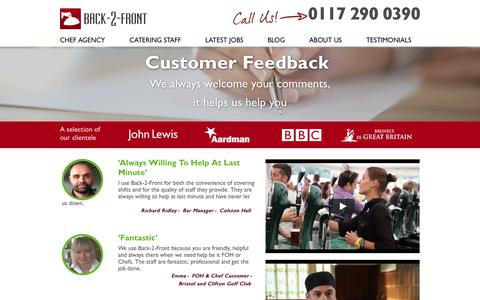 Screenshot of Testimonials Page back-2-front.co.uk - Testimonials - captured Oct. 9, 2017