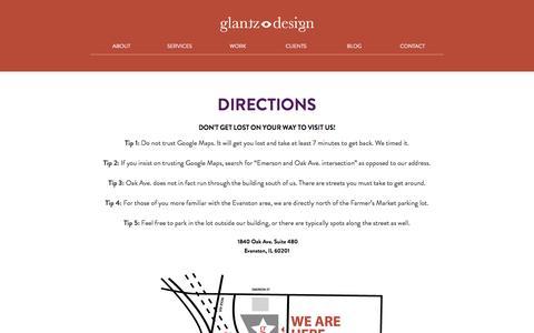 Screenshot of Maps & Directions Page glantz.net - Directions to Glantz Design | Glantz Design - captured Jan. 28, 2016