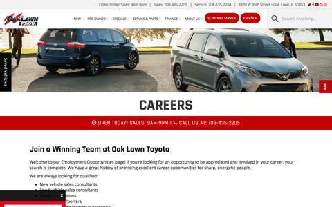 Screenshot of Jobs Page oaklawntoyota.com - Oak Lawn and Hickory Hills Automotive Job | Oak Lawn Toyota - captured Sept. 20, 2018