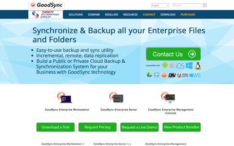 Screenshot of Landing Page goodsync.com - GoodSync Enterprise: Enterprise File Backup and Synchronization Software - captured Oct. 27, 2014