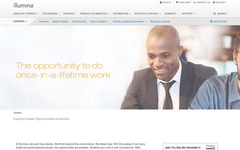 Screenshot of Jobs Page illumina.com - Careers | The opportunity to do once-in-a-lifetime work - captured Feb. 4, 2017