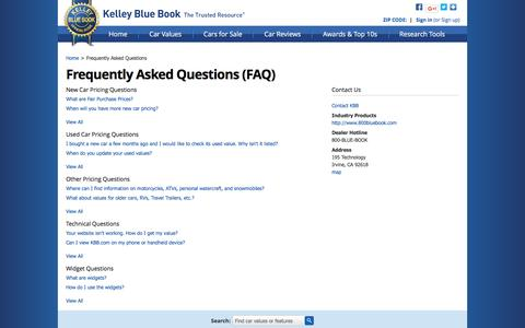Screenshot of FAQ Page kbb.com - FAQs - Frequently Asked Questions - Kelley Blue Book - captured Dec. 9, 2016