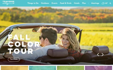 Screenshot of Home Page traversecity.com - Traverse City Hotels, Events, Restaurants & Things to Do - captured Sept. 20, 2018