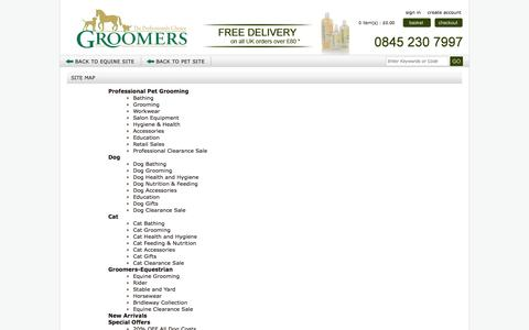 Screenshot of Site Map Page groomers-online.com - Dog grooming, horse grooming supplies, dog tables, grooming shampoo, horse grooming shampoo UK - captured Nov. 2, 2014