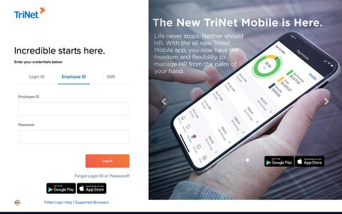 Screenshot of Login Page trinet.com - TriNet Platform - captured Oct. 15, 2019