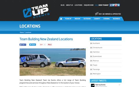 Screenshot of Locations Page teamupevents.co.nz - Team Up Events | Team Building New Zealand Locations - captured Aug. 12, 2016