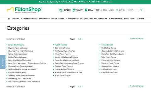 Screenshot of Site Map Page thefutonshop.com - Site Map - captured Sept. 21, 2018