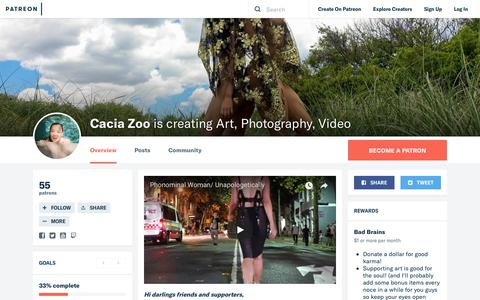Screenshot of Support Page patreon.com - Cacia Zoo is creating Art, Photography, Video | Patreon - captured Jan. 27, 2018