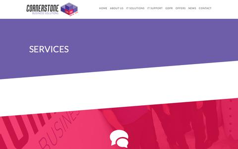 Screenshot of Services Page cornerstonebs.co.uk - Cornerstone Business Solutions | IT Support, Hardware & Telecoms - captured Sept. 29, 2018