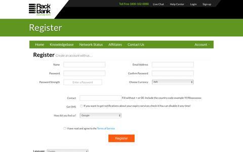 Screenshot of Signup Page rackbank.com - Register - Rackbank® - captured Feb. 17, 2016