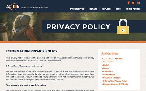 Screenshot of Privacy Page actioninternational.org - Information Privacy Policy - Action International Ministries - captured Nov. 19, 2016