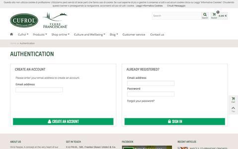 Screenshot of Signup Page Login Page cufrol.com - Autenticazione - Cufrol - captured July 10, 2016