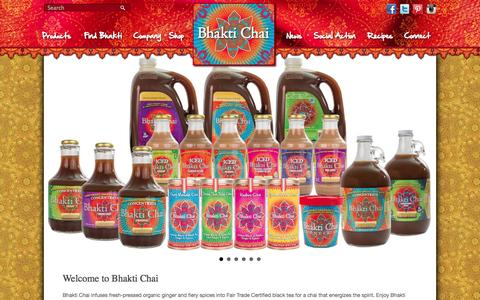 """Screenshot of Home Page bhaktichai.com - Bhakti Chai Founder Brook Eddy """"Entrepreneur of the Year"""" FinalistBhakti Chai 
